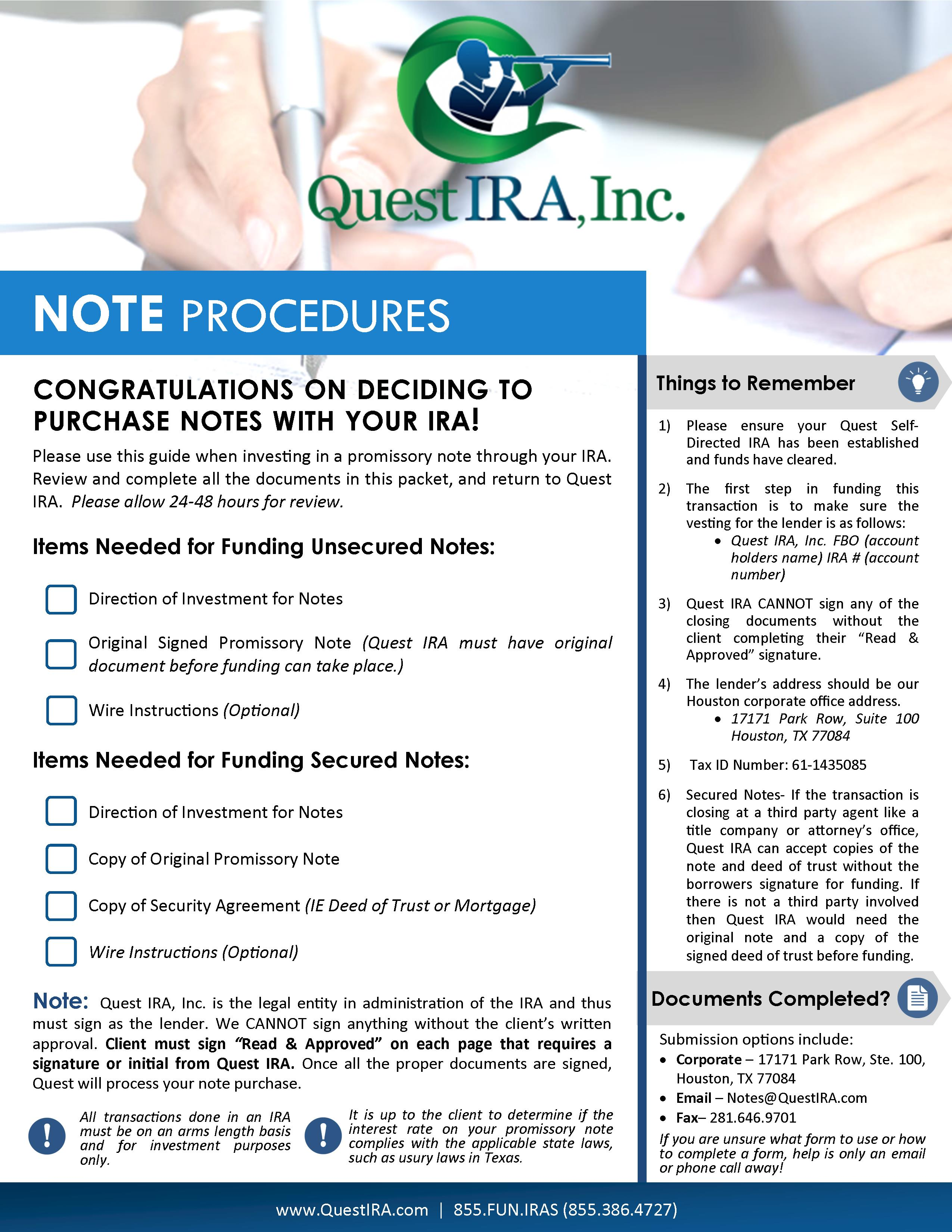 Promissory Notes In Your Quest IRA SelfDirected IRA – Promissory Notes